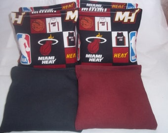 8 ACA Regulation Cornhole Bags - 4 handmade from Miami Heat Fabric on Black and Burgundy Backs