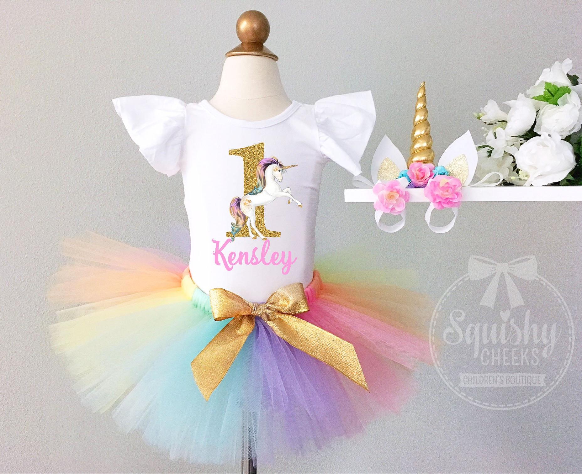Unicorn 1st Birthday Girl Outfit Unicorn First Birthday Girl