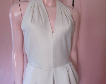 A. J. BARI (Kay Unger) White Cotton Twill Dress from the 1970s, Size 6