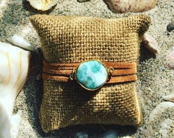 Larimar Ocean Bracelet on Suede