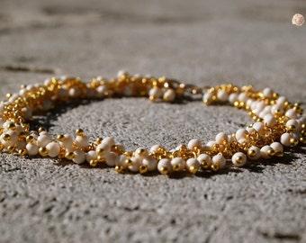 White Coral Bracelet 14k