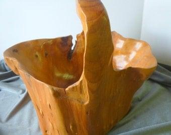 Large Natural Hand Carved Burl Wood Bowl Rustic Folk Art Handled Basket
