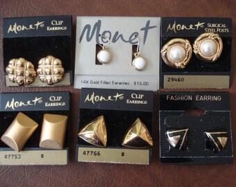 Monet 5 Pairs 1 Pair Avon Vintage Clip On & Pierced Lot A+ Condition #83