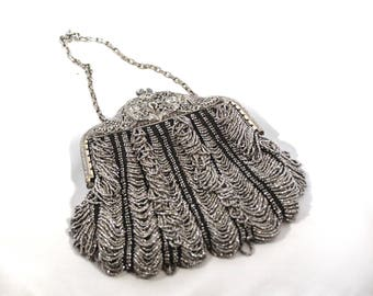 1900's Silver Beaded & Engraved Metal Chain Purse With Hidden Flowers Inside!