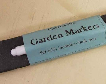 A set of 5 hand cut slate garden markers with liquid chalk pen