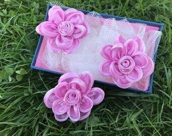 3 pcs Light Purple Satin Flower approx 60 mm