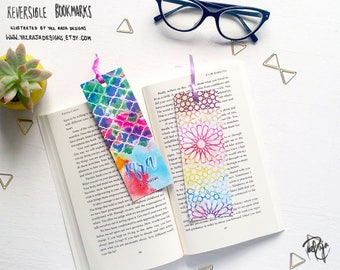 Rainbow Iqra Islamic Patterned Reversible Bookmark - Geometric Pattern - Handmade in UK - Rainbow - Ramadan