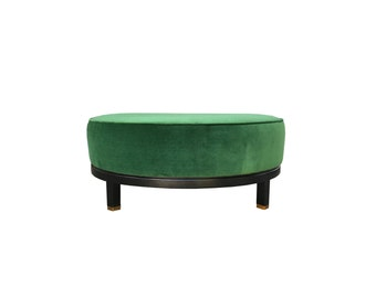 Mid Century Hollywood Regency Green Velvet Ottoman Coffee Table