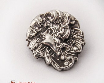 Art Nouveau Lady Portrait Foliate Pin Sterling Silver Front 1900