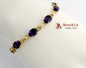 Amethyst Tennis Bracelet 14 K Yellow Gold