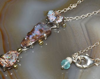 Boulder Opal Necklace Sterling Silver and 18K Gold Dainty Vertical Necklace