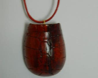 Turtle shell necklace / carapace pendant / shell pendant / hand carved from padauk wood / original gift