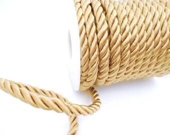 Ocher Braided Silk Cord_PP012445574863_ BRAIDED/ Ocher Cord_of 6 mm_bobbin OF 5 meters _5/46 yards