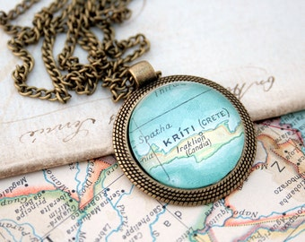 Vintage Map Necklace / Personalized Necklace / Custom Map Jewelry Statement Necklace / Gifts for luck in new place / Personalized Gifts