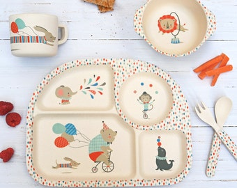 Bamboo 5 Piece Dinner Set ~ Circus Animals
