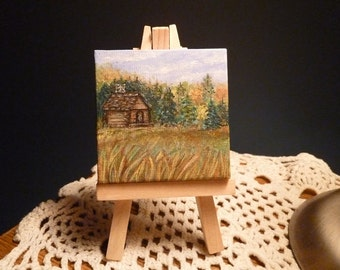 Cabin mini painting, Vacation home, Log Cabin, Cabin decor, Lodge Decor, Mini landscape painting