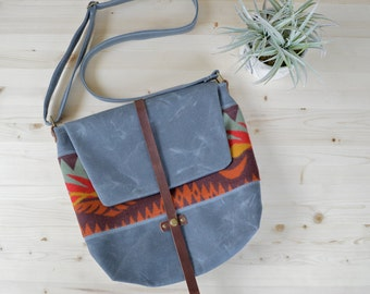 25% off SALE! Waxed Canvas Messenger Bag with Dr. Whirlwind Pendleton® Wool / Waxed Canvas Satchel