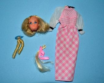 1975 Quick Curl Barbie TnT face with dress, Hair Fair  wiglets- Very Good Vintage Mod