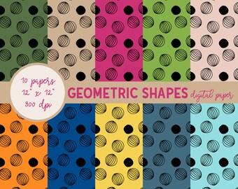 Geometric Paper Pack, Modern Digital Paper, Abstract Digital Paper, Colorful Digital Paper, Printable Paper, Digital Paper Pack