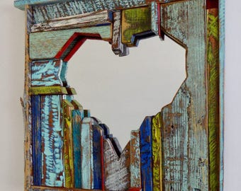 Heart Mirror - Love - Reclaimed  Wood Mirror - one of a kind - sculpture - colorful - funky - pretty