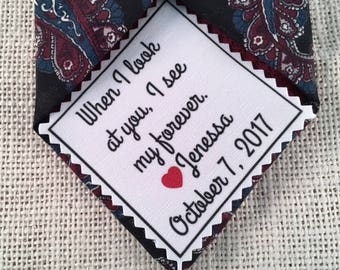 "GROOM'S PATCH Ink Printed - Choose Message & Font - 2.5"" x 2.5"" Sew on or Iron On - When I Look at You I See My Forever, Wedding Tie Patch"