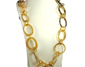 Unique handmade natural real buffalo horn chunky large oversized ring link 130 cm very long length necklace