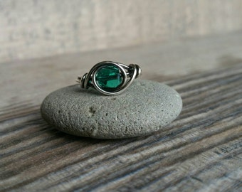 Fine Silver and Teal Crystal Swirl Ring
