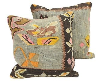 Pair Turkish Kilim Throw Pillows + Feather Pillow Insert - Gray/Black/Brown/Yellow/Pink