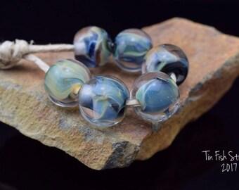 Multi-colored Handmade Boro Glass 6 Round Bead Set