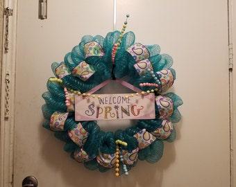 Festive Spring Wreath - Teal Deco Mesh & Ribbon