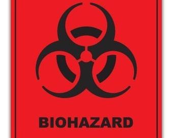 "Bio Hazard Warning Sign Vinyl Decal 5"" x 4"" For Windows, Walls, Laptops, Lockers, Ipad, etc."
