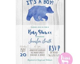 Rustic Baby bear Shower Invitation   baby boy bear shower invite   blue bear baby invitation   woodland baby shower   hunting shower 173