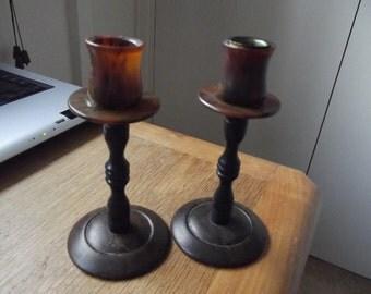 Bakelite faux tortoishell pair of candlesticks