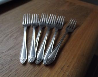 vintage cake forks silver plate