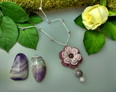 Hand Crocheted Rose Pendant Microcrochet Necklace Lilac Plum Jade Sterling Silver Cotton Flower Natural Nature Inspired Summer Botanical