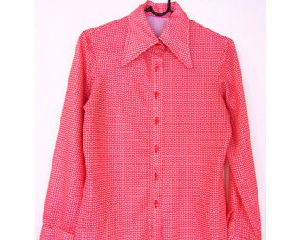 20% OFF! Ace Vintage 70s 80s Geometric Top Coral Shirt Glam Rock Disco Blouse