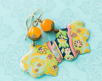 Gypsy Boho Recycled Floral Vintage Tin Earrings Jewelry with Orange Beads and Antique Brass