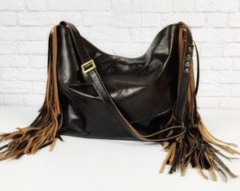 Dark Brown Rustic Fringe Tote / Fringe Leather Tote / Brown Leather Tote / Fringe Leather Purse / Leather Fringe Bag