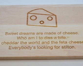 Cheese Board Engraved Solid Wood Cheese Board - Cutting Board - Made to Order For Cheese Lovers
