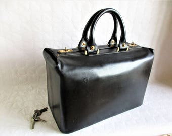 "vintage french black leather ""mechanic's"" bag / robust week end bag"