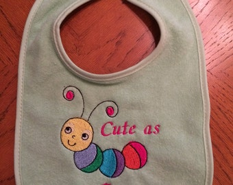 Cute as a bug baby bib