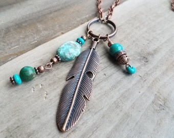 Copper Feather Pendant Necklace with Turquoise Bead Dangles, Red Antiqued Copper Feather Necklace, Copper Turquoise Necklace