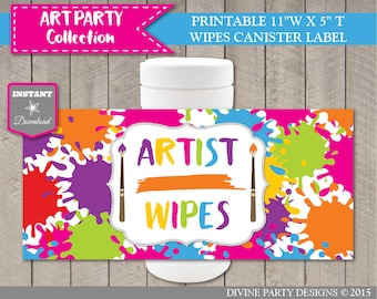 "INSTANT DOWNLOAD Printable 11"" x 5"" Artist Wipes Canister Label / Artist's Wipes / Painting / Art Party Collection / Item #2807"
