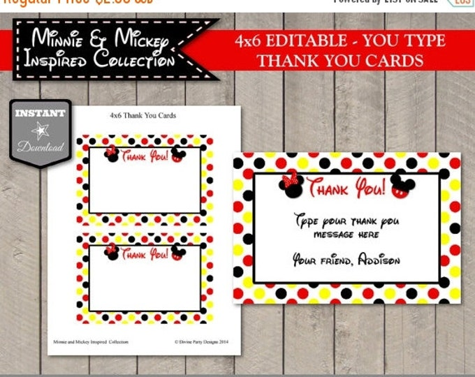 SALE INSTANT DOWNLOAD Editable Girl and Boy Mouse Printable 4x6 Thank You Cards / Type your message / Girl & Boy Mouse Collection / Item #21