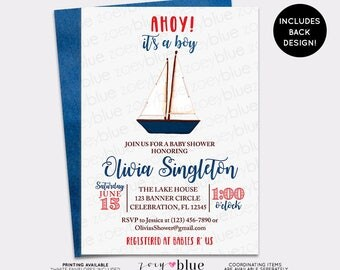 Nautical Baby Shower Invitation - Boat Baby Shower Invite - Boy Watercolor Sailing Invitation - Ahoy it's a Boy - Anchor Birthday invite