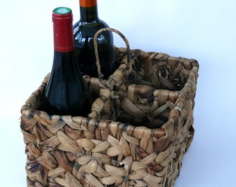 Wine Bottle Holder, Basket Bottle Carrier, 4 Bottle Caddy, Wine Basket, Porte Bouteilles, Wine Storage, French Wine Basket, Bottle Basket