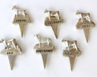 Vintage Silver Plate Cheese Markers, 6 Cheese Picks, Animal Cheese Tags with Cheese Names, Cheese Accessory, Fromage Markers, French Cheese