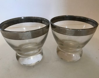 Vintage Pair of Dorothy Thorpe style  Silver Band Cordial Glass- Thick Ball Bottom
