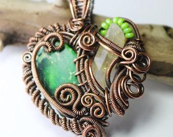 Green Heart Wire Wrapped Pendant - Heady Pendant - Festival Jewelry - Hippy Jewelry - Made in Alaska
