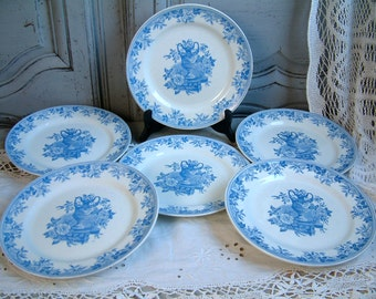 Set of 6 Antique english blue transferware dinner plates. Blue transferware plates. Bates, Walker Co. Gustavian decor. Nordic decor